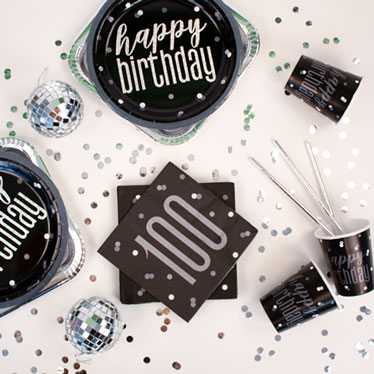 Black Glitz 100th Birthday Party Supplies