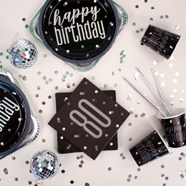 Black Glitz 80th Birthday Party Supplies