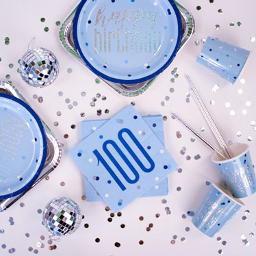 Blue Glitz 100th Birthday