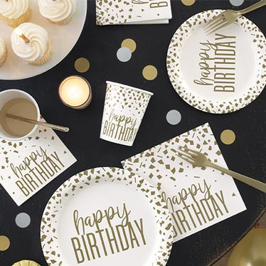 Confetti Gold Birthday Party Supplies