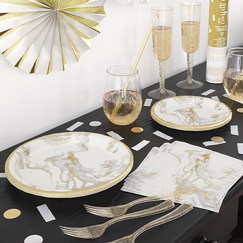 Gold Foil Marble Party Supplies