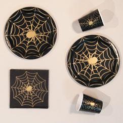 Halloween Gold Spider Web Party Supplies
