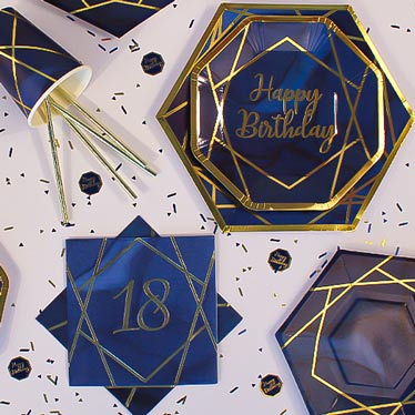 Age 18 Navy & Gold Geode Party Supplies