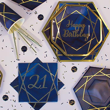 Age 21 Navy & Gold Geode Party Supplies