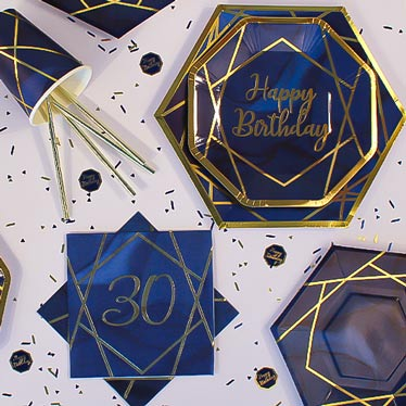Age 30 Navy & Gold Geode Party Supplies