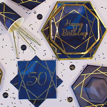Age 50 Navy & Gold Geode Party Supplies