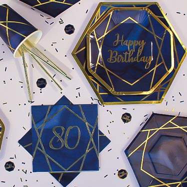 Age 80 Navy & Gold Geode Party Supplies