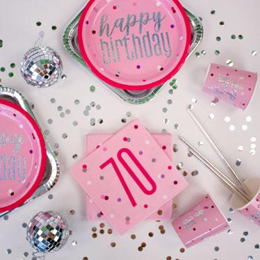Pink Glitz 70th Birthday Party Supplies