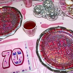 Pink Glitz 70th Birthday Party Supplies