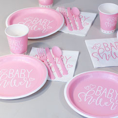 Pink Hearts Baby Shower Party Supplies