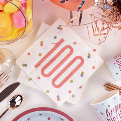 Rose Gold Glitz 100th Birthday Party Supplies