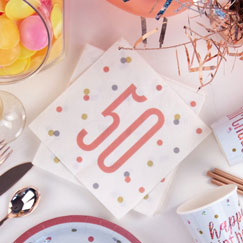 Rose Gold Glitz 50th Birthday Party Supplies