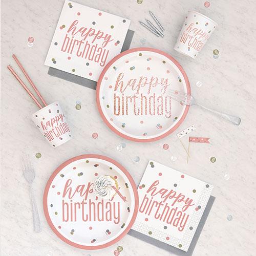 Rose Gold Glitz Happy Birthday Party Supplies