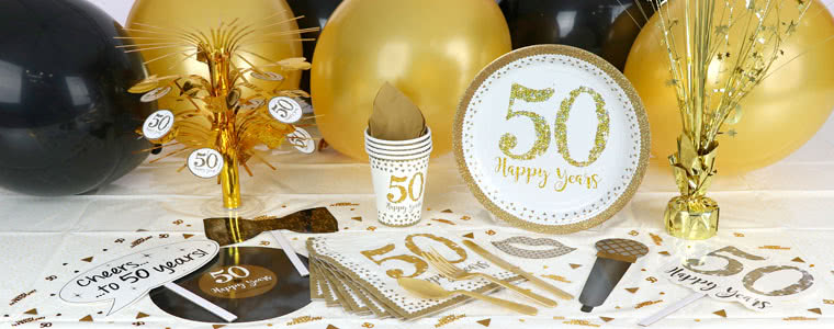 Sparkling Golden Anniversary Party Supplies Top Image