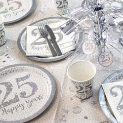 Sparkling Silver Anniversary Party Supplies