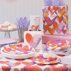 Watercolour Valentine Hearts Party Supplies