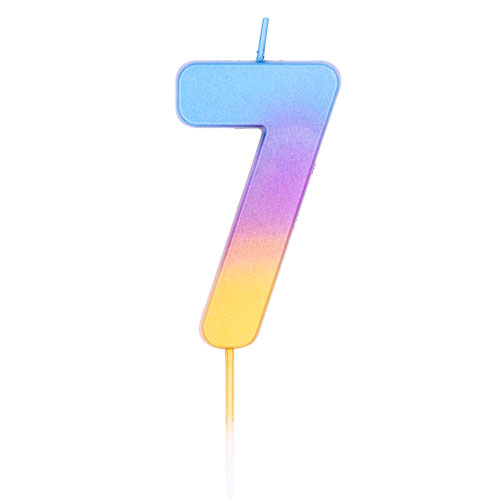 Number 7 Rainbow Ombre Pick Birthday Candle 11cm Product Image