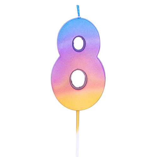 Number 8 Rainbow Ombre Pick Birthday Candle 11cm Product Image