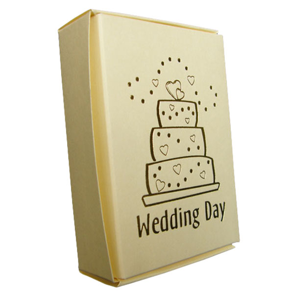 Ivory Cake Boxes with Wedding Cake Print in Gold - Pack of 10 Product Image