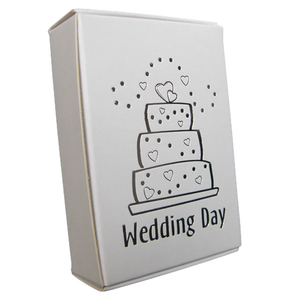White Cake Boxes with Wedding Cake Print in Silver - Pack of 10