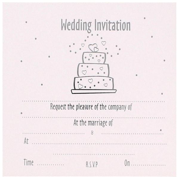 Wedding Cake White Invitations with Envelopes - Pack of 10