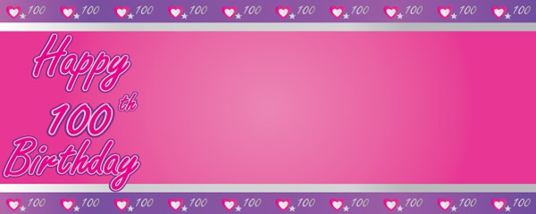Happy 100th Birthday Pink and Purple Hearts Design Medium Personalised Banner - 6ft x 2.25ft