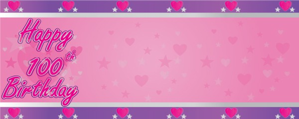 Happy 100th Birthday Faded Hearts Design Small Personalised Banner- 4ft x 2ft