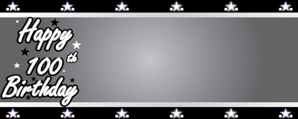 Happy 100th Birthday Silver Stars Design Small Personalised Banner- 4ft x 2ft
