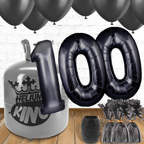100th Birthday Helium Gas Package with Black Balloons Product Image