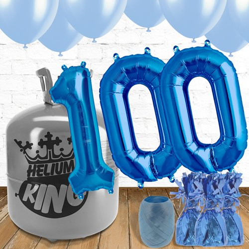 100th Birthday Helium Gas Package with Blue Balloons Product Image