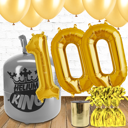 100th Birthday Helium Gas Package with Gold Balloons Product Image