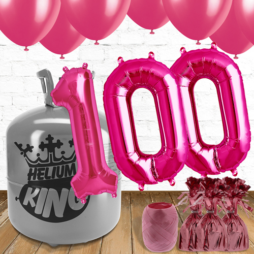 100th Birthday Helium Gas Package with Pink Balloons Product Image
