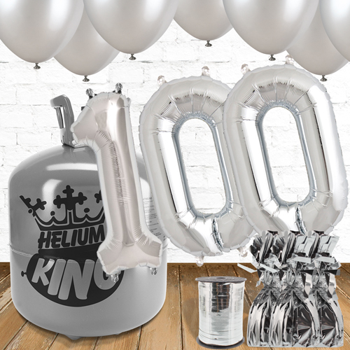 100th Birthday Helium Gas Package with Silver Balloons Product Image