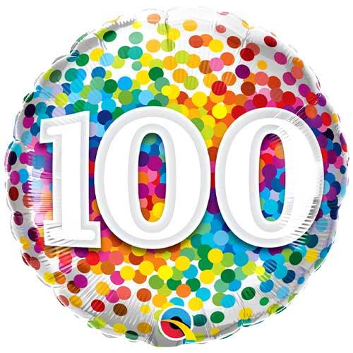 100th Birthday Rainbow Confetti Round Foil Helium Qualatex Balloon 46cm / 18 in Product Image