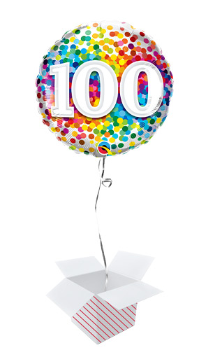 100th Birthday Rainbow Confetti Round Foil Helium Qualatex Balloon - Inflated Balloon in a Box Product Image