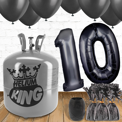 10th Birthday Helium Gas Package with Black Balloons Product Image