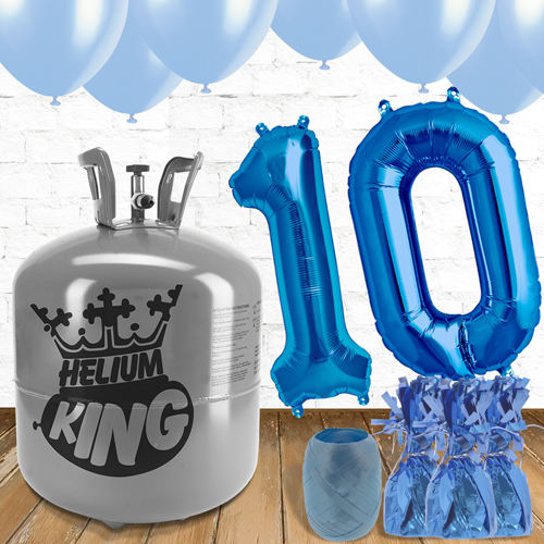 10th Birthday Helium Gas Package with Blue Balloons Product Image