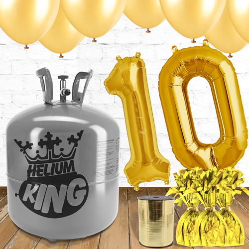10th Birthday Helium Gas Package with Gold Balloons Product Image