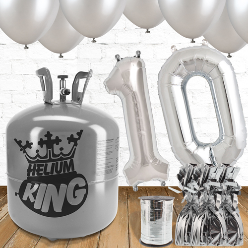 10th Birthday Helium Gas Package with Silver Balloons Product Image