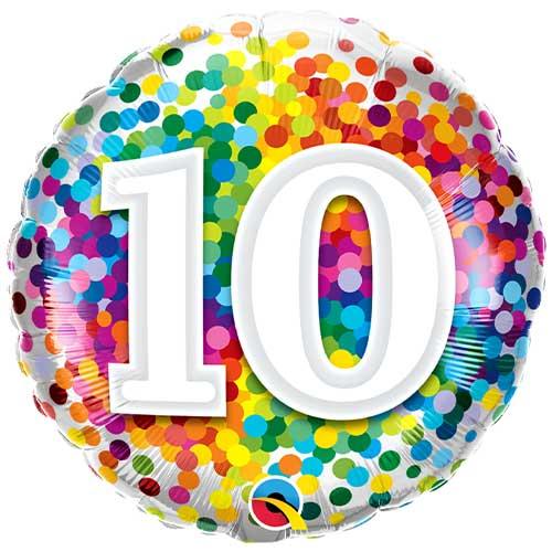 10th Birthday Rainbow Confetti Round Foil Helium Qualatex Balloon 46cm / 18 in