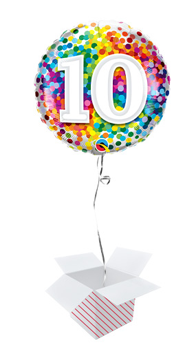 10th Birthday Rainbow Confetti Round Foil Helium Qualatex Balloon - Inflated Balloon in a Box