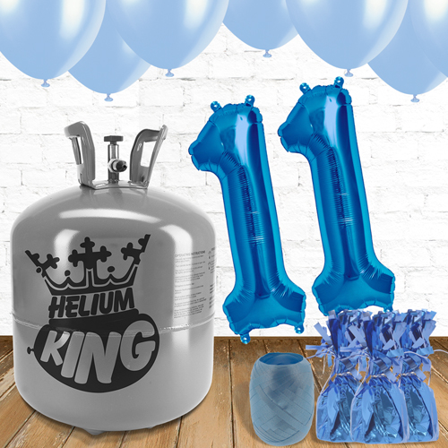 11th Birthday Helium Gas Package with Blue Balloons Product Image