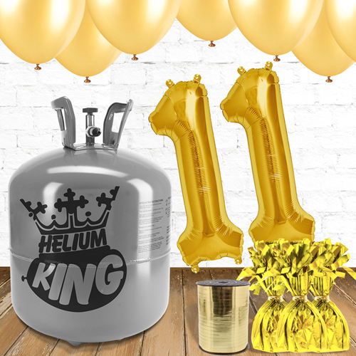 11th Birthday Helium Gas Package with Gold Balloons Product Image