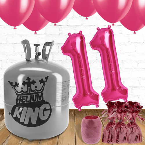 11th Birthday Helium Gas Package with Pink Balloons
