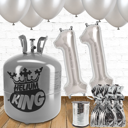11th Birthday Helium Gas Package with Silver Balloons Product Image