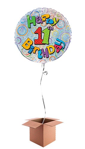Happy 11th Birthday Holographic Round Foil Balloon - Inflated Balloon in a Box