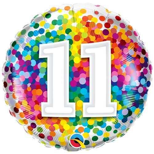 11th Birthday Rainbow Confetti Round Foil Helium Qualatex Balloon 46cm / 18 in