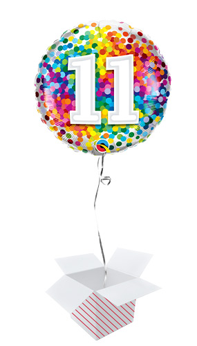11th Birthday Rainbow Confetti Round Foil Helium Qualatex Balloon - Inflated Balloon in a Box