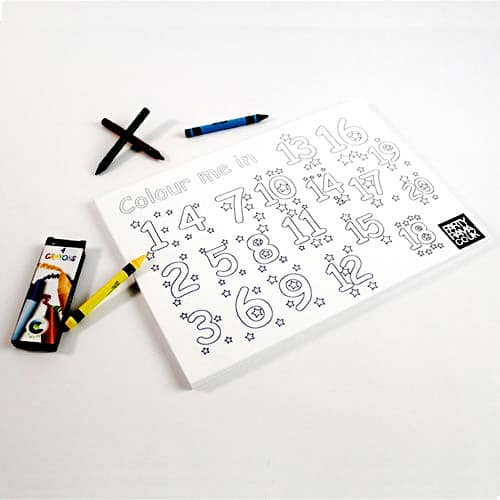 123 Colouring Themed A4 Colouring sheet With 4 Crayons Product Image