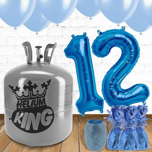12th Birthday Helium Gas Package with Blue Balloons Product Image